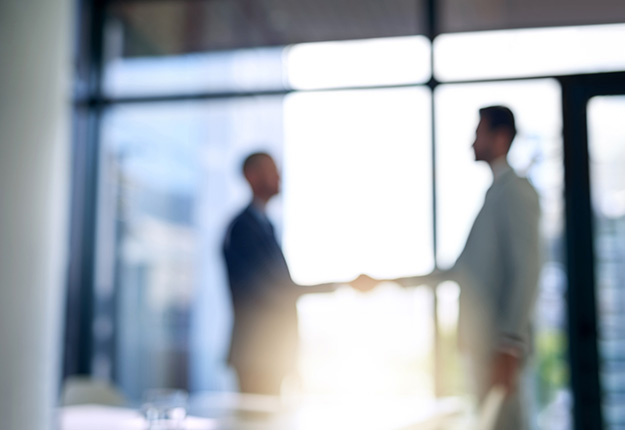 Two businessmen shaking hands out of focus