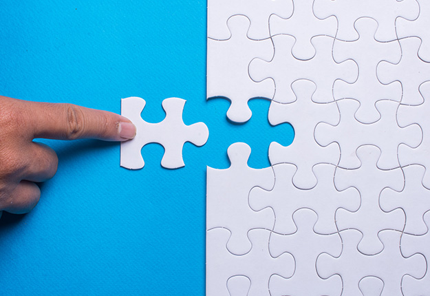 Placing a missing puzzle piece with finger