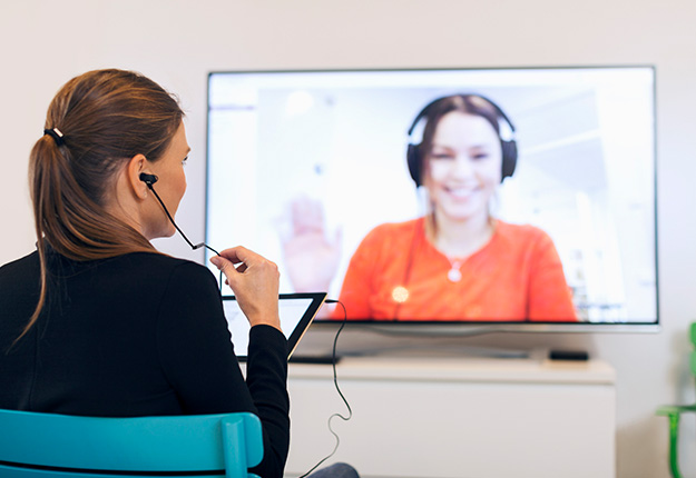 Business woman in a video conference