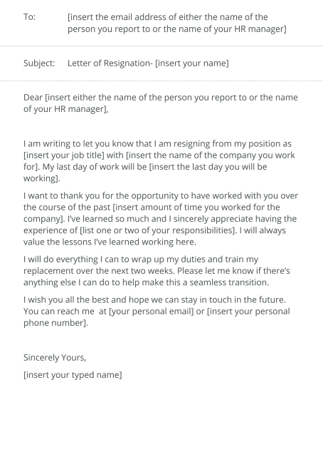 Resignation Letter To Hr from www.jobhero.com