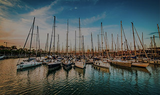 Dozens of boats docked at a marina